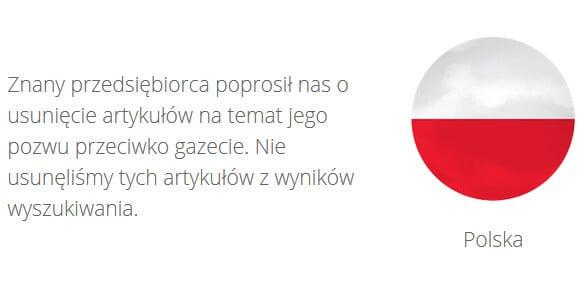 Raport Przejrzystości Google Transparency Report - Przykład z Polski